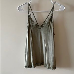 American Eagle Soft Army Green Lace Tank